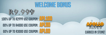 Get up to R9'999 as a Welcome Bonus on your first three deposits at Apollo Slots